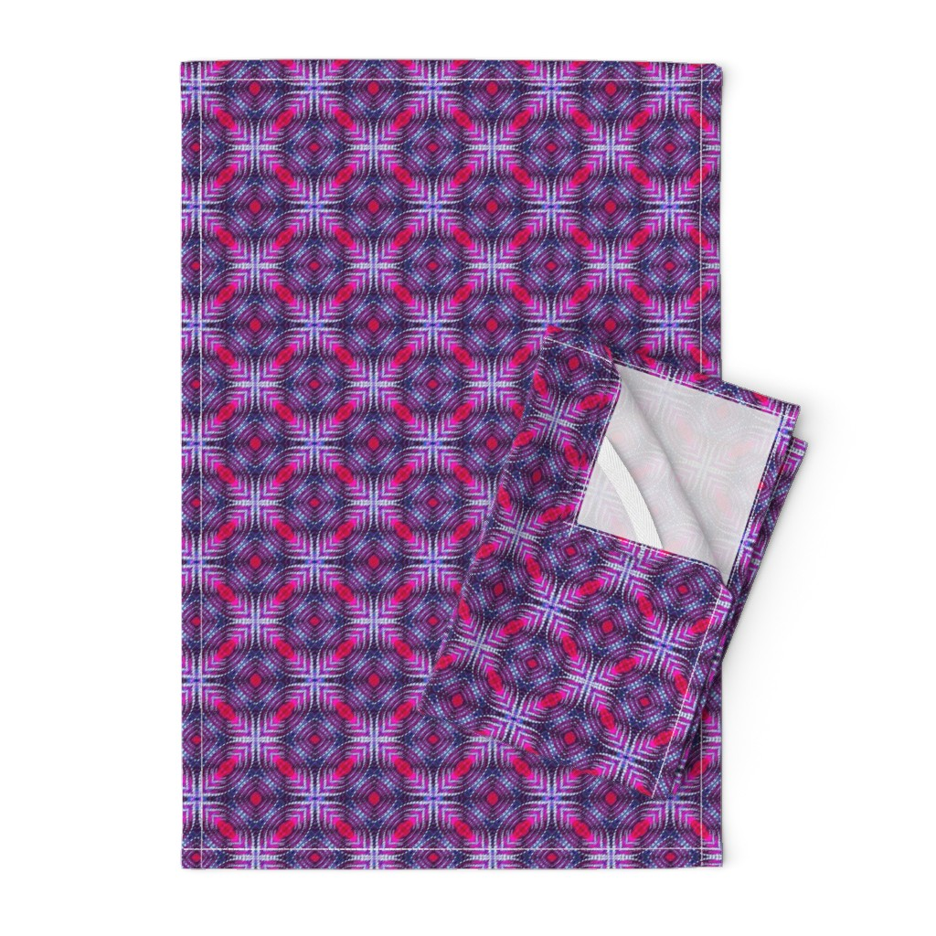 Orpington Tea Towels featuring Quilted Purple Diamonds by just_meewowy_design