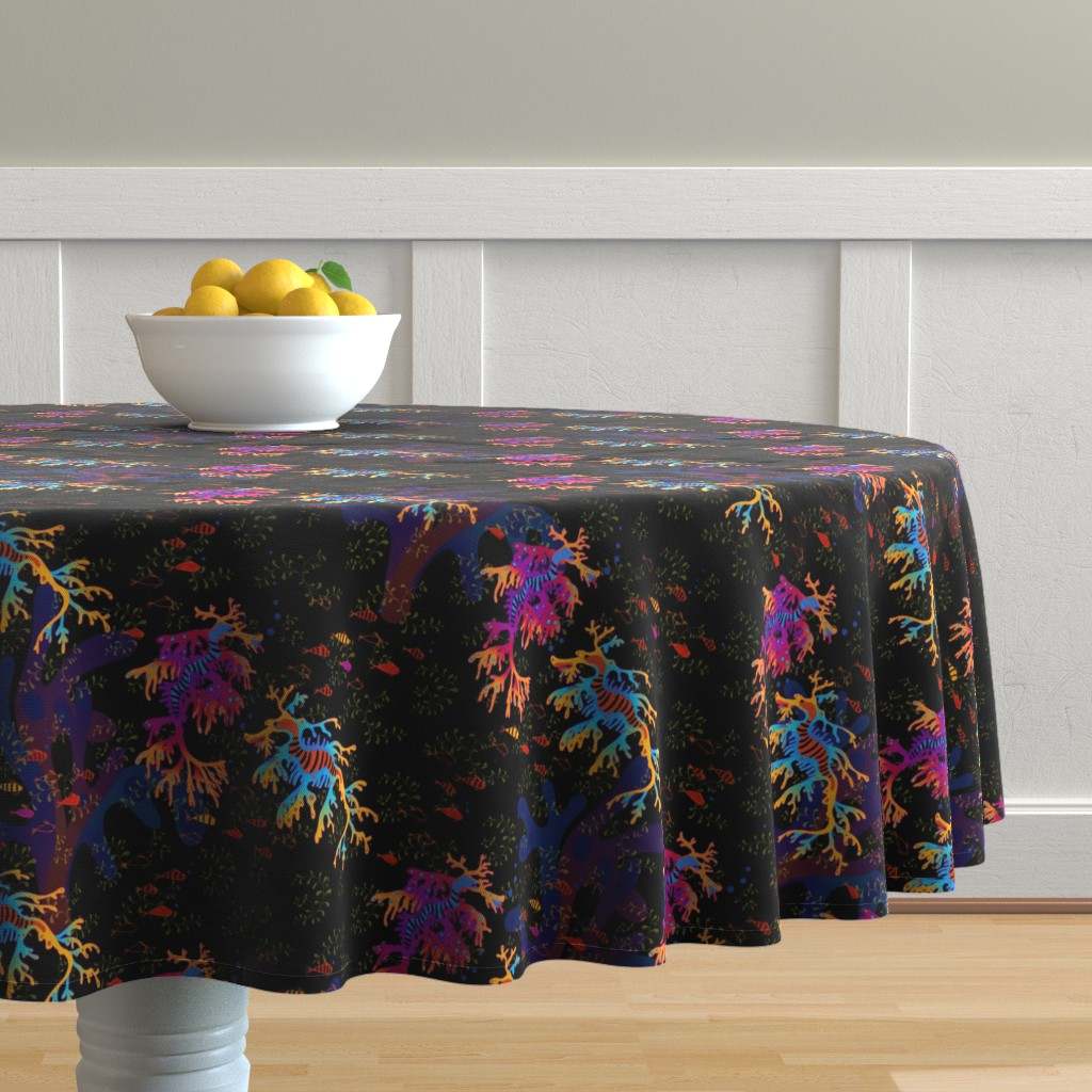 Malay Round Tablecloth featuring rainbow sea dragons  by designed_by_debby