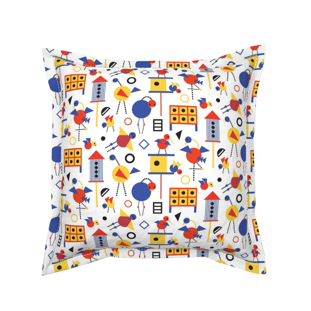 Serama Throw Pillow featuring Bauhaus Birdhouses and Birds by colour_angel_by_kv