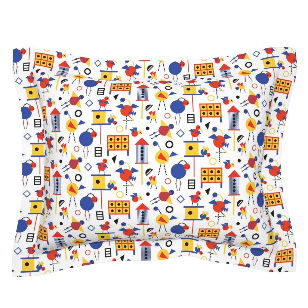 Sebright Pillow Sham featuring Bauhaus Birdhouses and Birds by colour_angel_by_kv