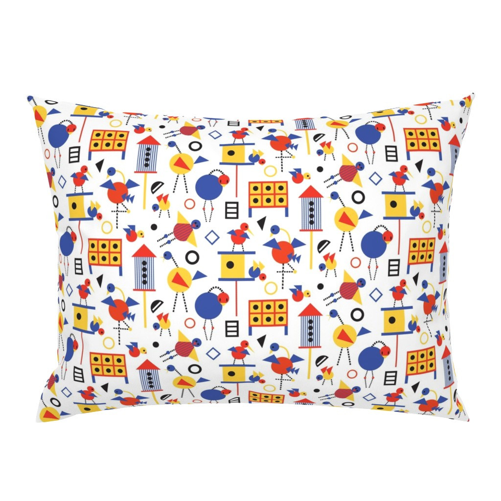 Campine Pillow Sham featuring Bauhaus Birdhouses and Birds by colour_angel_by_kv