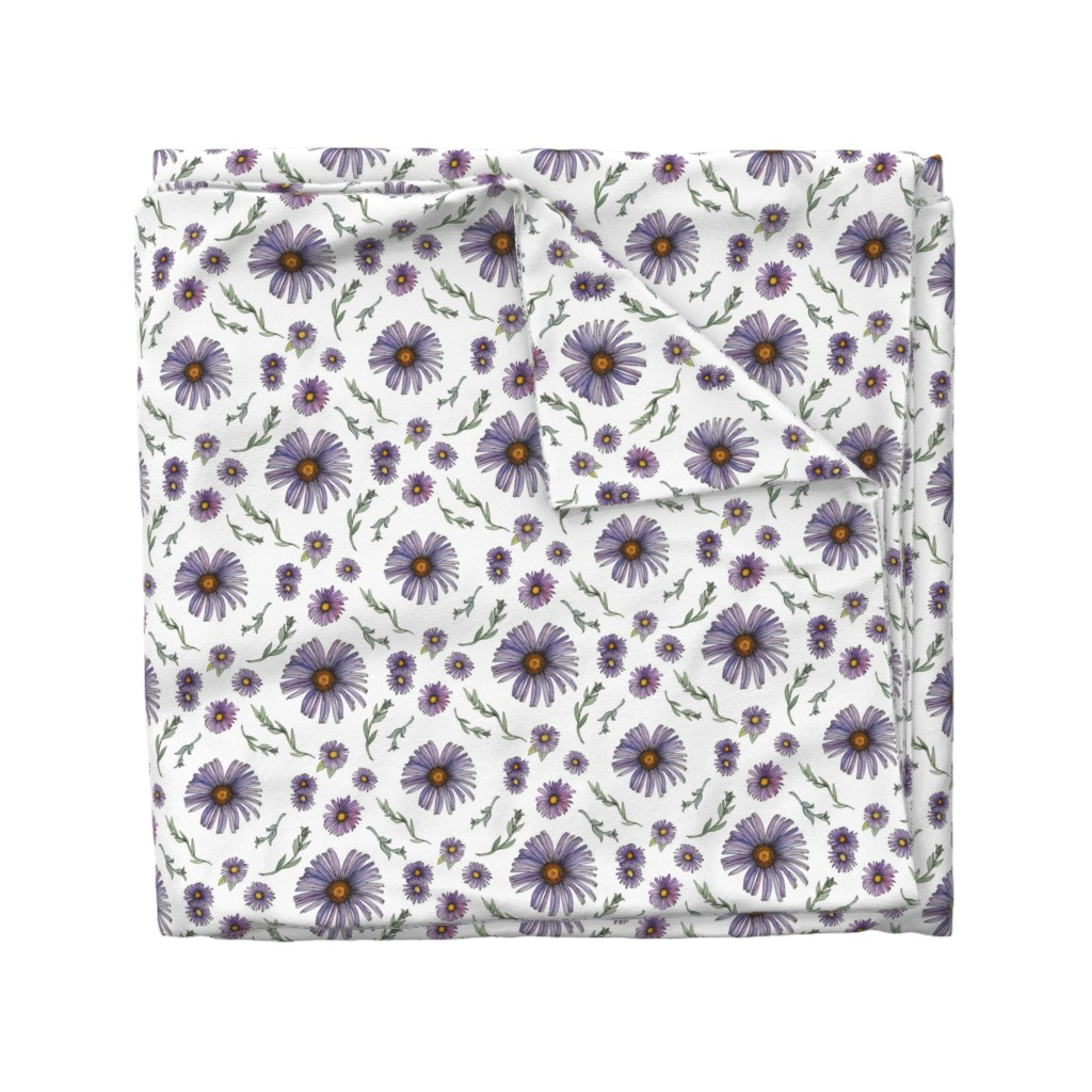 Wyandotte Duvet Cover featuring Sweet & Wild Soft Purple and Gold Aster Flowers by nicoletlaursen