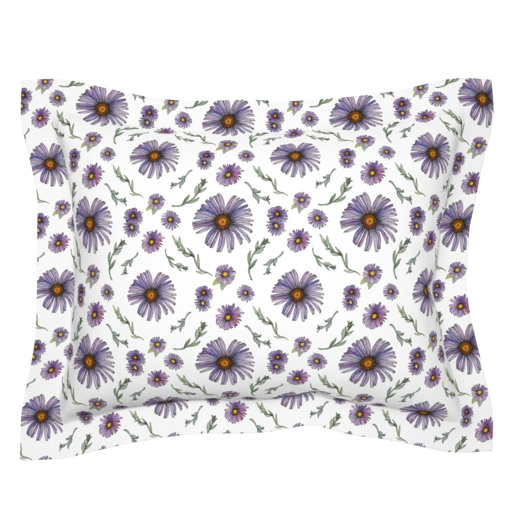 Sebright Pillow Sham featuring Sweet & Wild Soft Purple and Gold Aster Flowers by nicoletlaursen