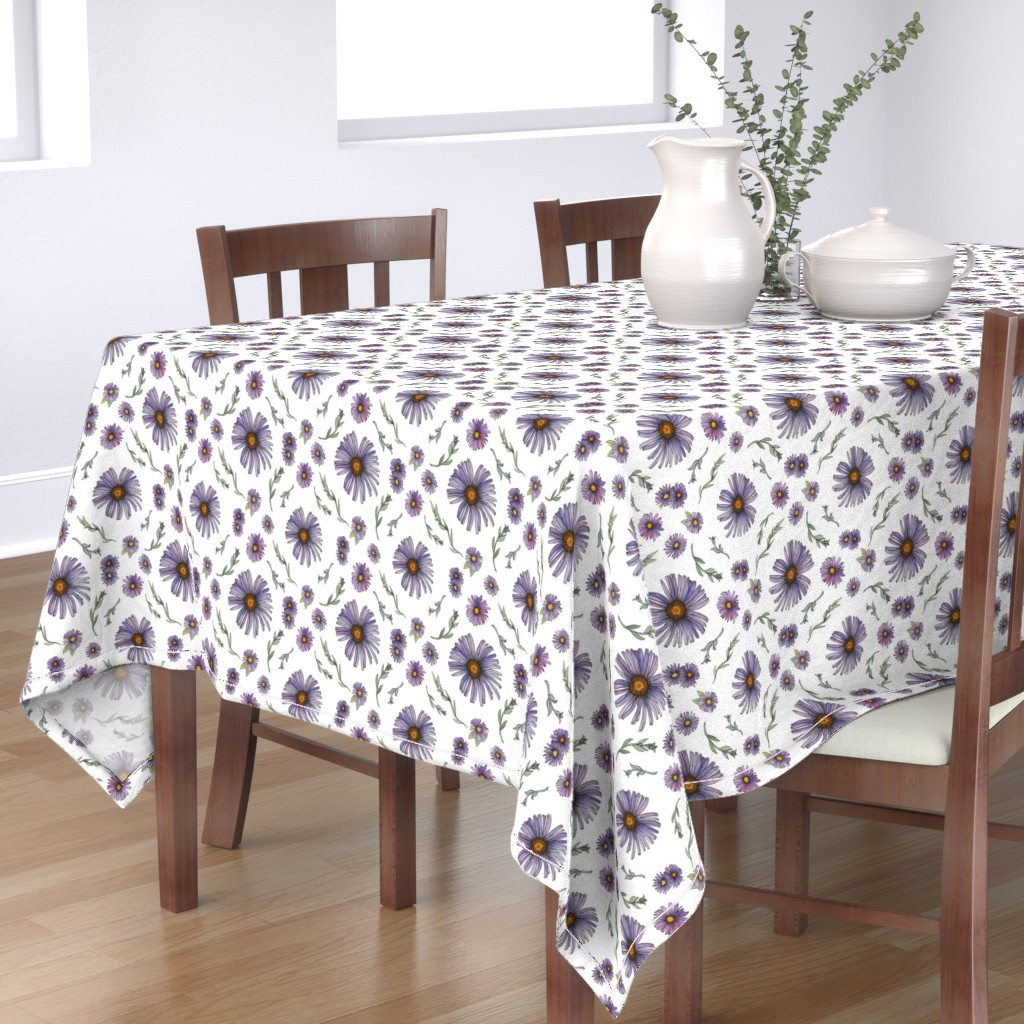 Bantam Rectangular Tablecloth featuring Sweet & Wild Soft Purple and Gold Aster Flowers by nicoletlaursen