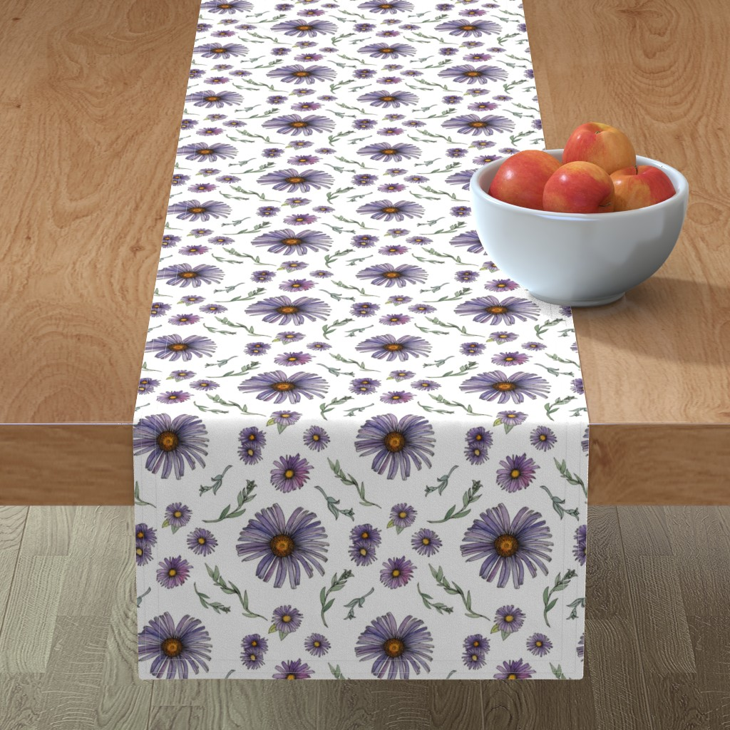 Minorca Table Runner featuring Sweet & Wild Soft Purple and Gold Aster Flowers by nicoletlaursen