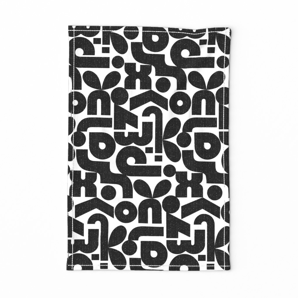 Special Edition Spoonflower Tea Towel featuring Talk of the Bauhaus-black and white by ottomanbrim