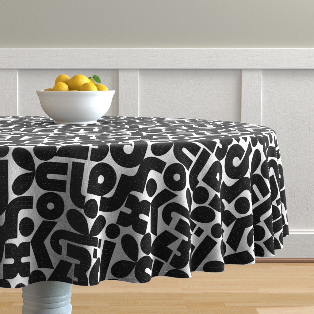 Malay Round Tablecloth featuring Talk of the Bauhaus-black and white by ottomanbrim