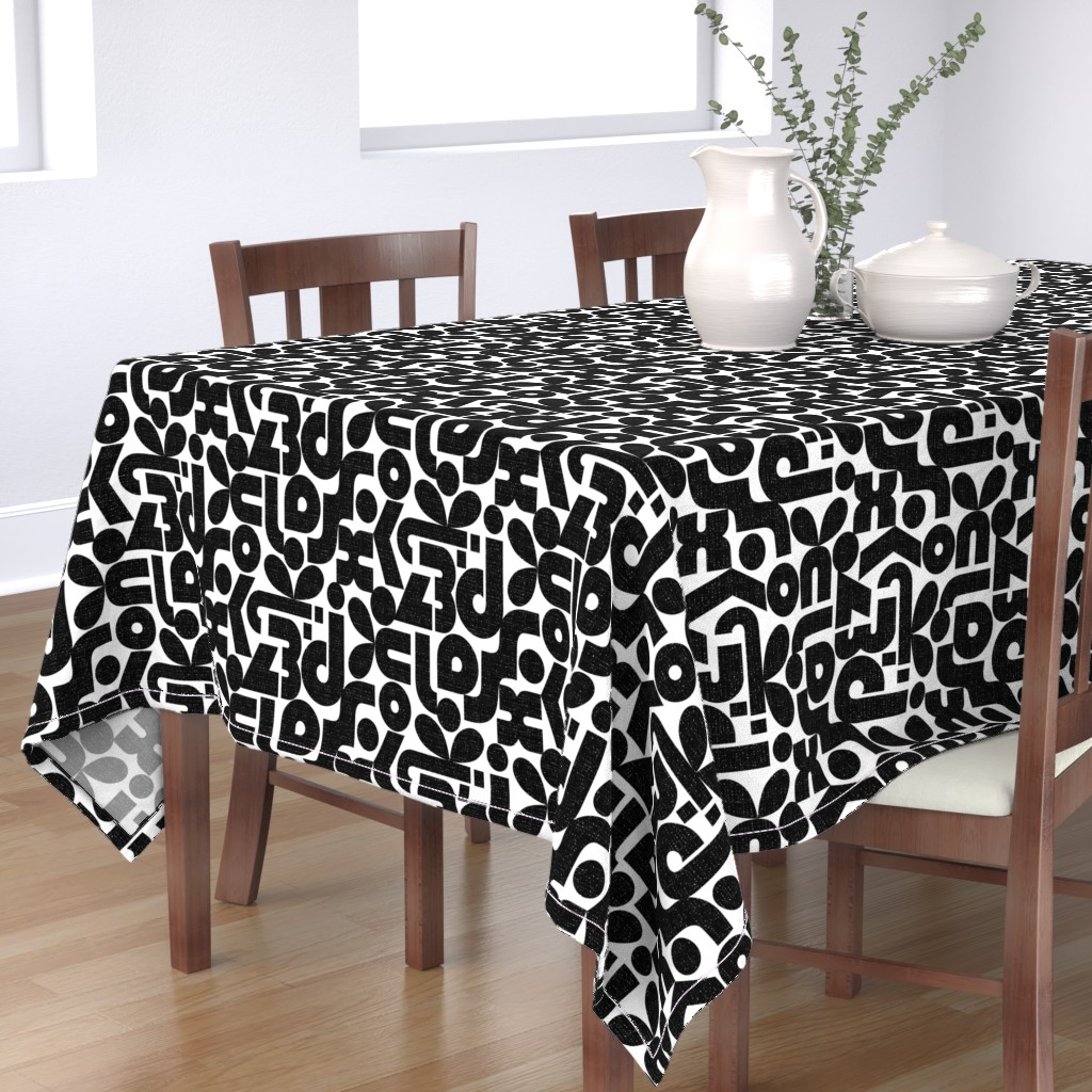 Bantam Rectangular Tablecloth featuring Talk of the Bauhaus-black and white by ottomanbrim