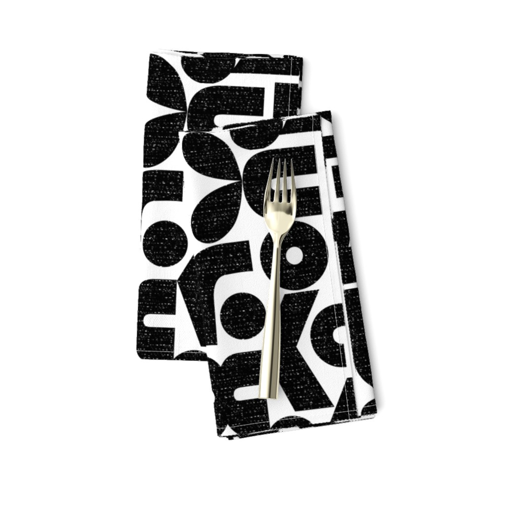 Amarela Dinner Napkins featuring Talk of the Bauhaus-black and white by ottomanbrim