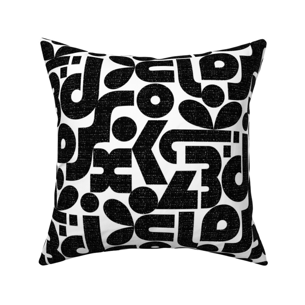 Catalan Throw Pillow featuring Talk of the Bauhaus-black and white by ottomanbrim
