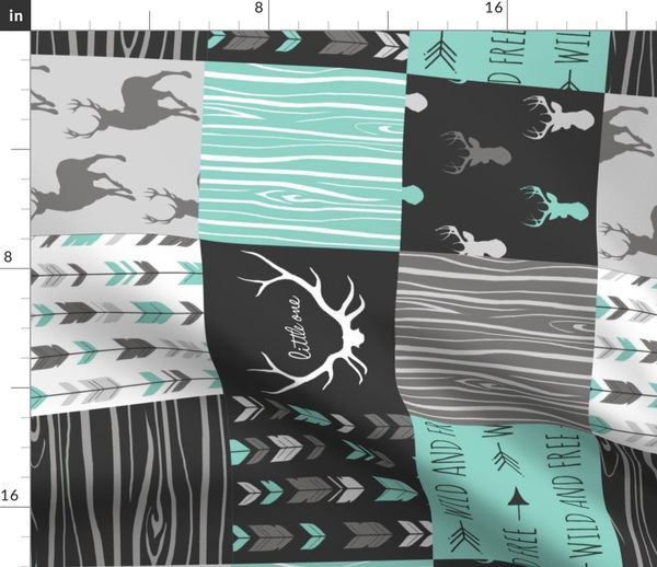 161d8dfe25 Fabric by the Yard. Patchwork Deer - custom grey ...