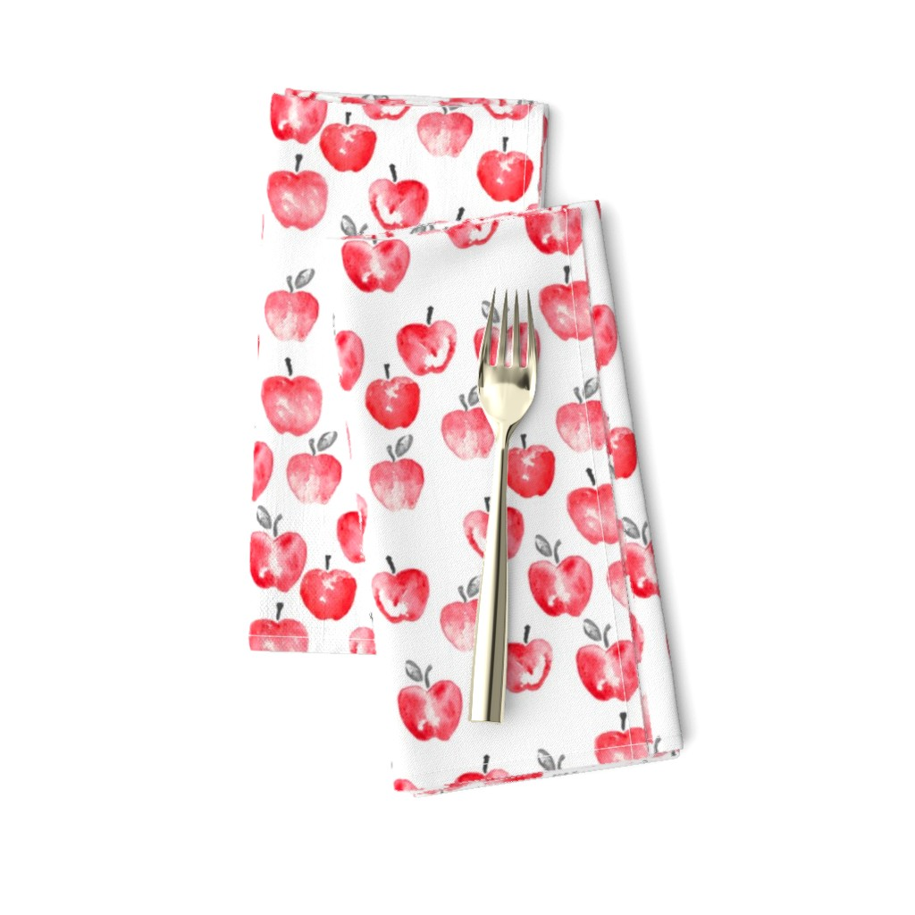Amarela Dinner Napkins featuring watercolor apples - red  by littlearrowdesign