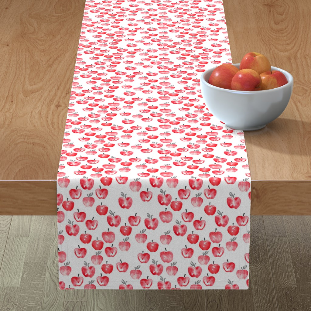 Minorca Table Runner featuring watercolor apples - red  by littlearrowdesign