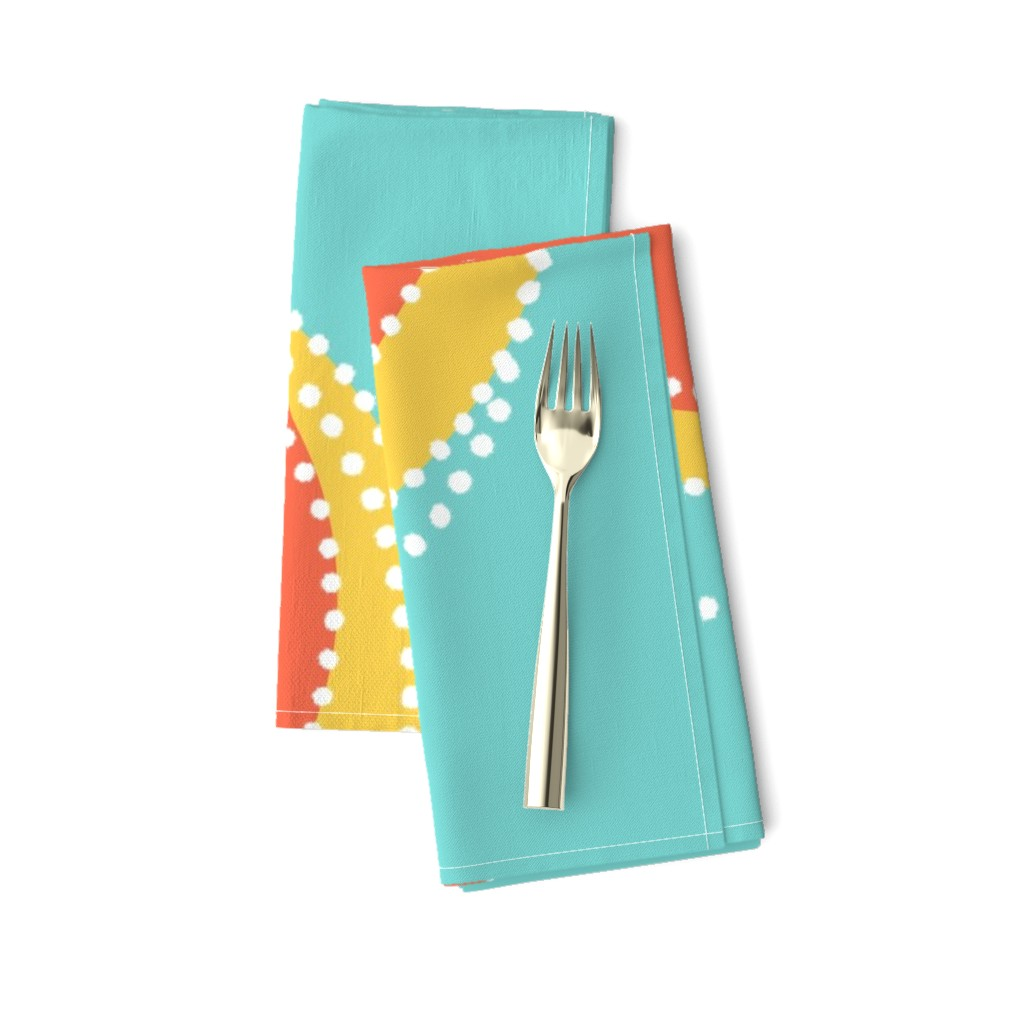 Amarela Dinner Napkins featuring Classic comeback, new + bold, on sea-green by Su_G  by su_g