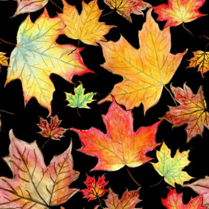 Autumn Maple Leaves 18 inch repeat on black