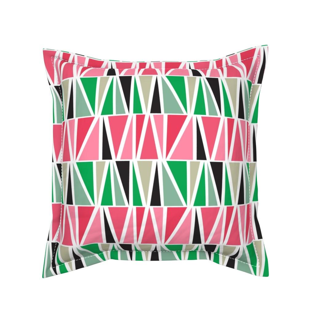Serama Throw Pillow featuring watermelon-triangles by gkumardesign