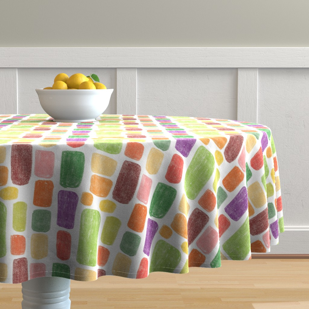 Malay Round Tablecloth featuring Multicolored stones by sandra_bereg