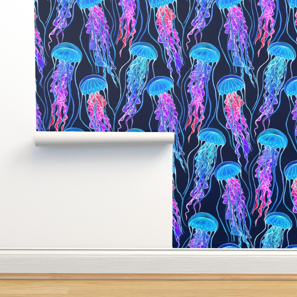 Isobar Durable Wallpaper featuring Luminescent Rainbow Jellyfish on Navy Blue - large by micklyn