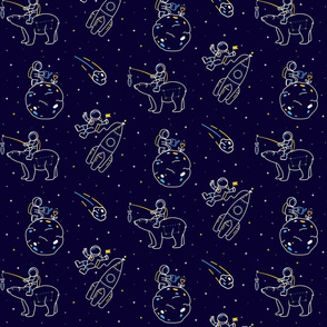 Funny astronauts in Space in linear style