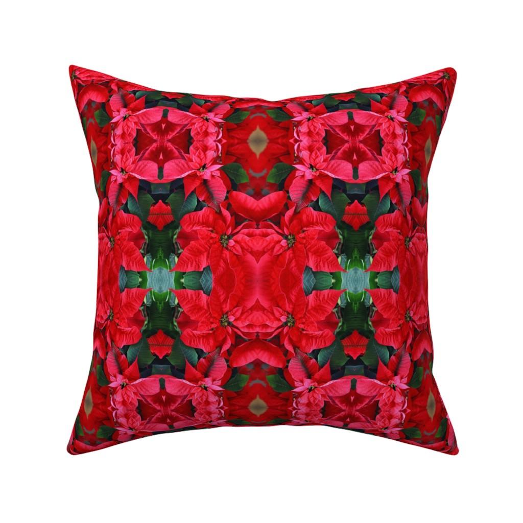 Catalan Throw Pillow featuring KRLGFP-2RedPoinsettias by karenspix