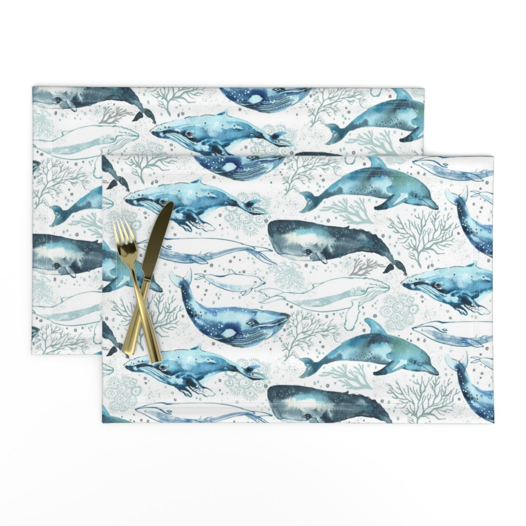 Lamona Cloth Placemats featuring Whales & Dolphins by ohn_mar_win