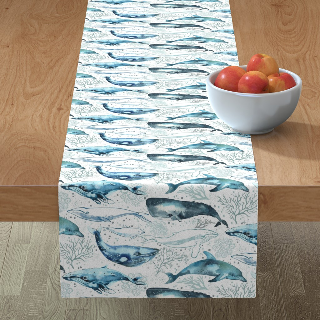 Minorca Table Runner featuring Whales & Dolphins by ohn_mar_win