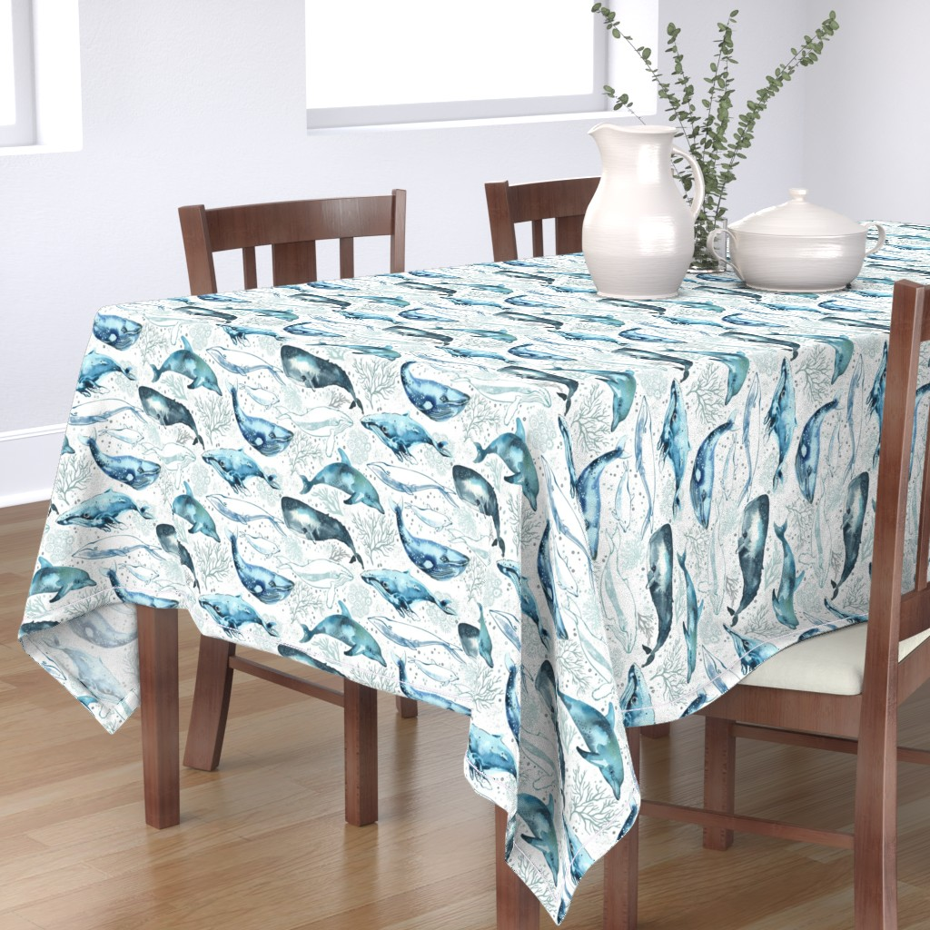 Bantam Rectangular Tablecloth featuring Whales & Dolphins by ohn_mar_win