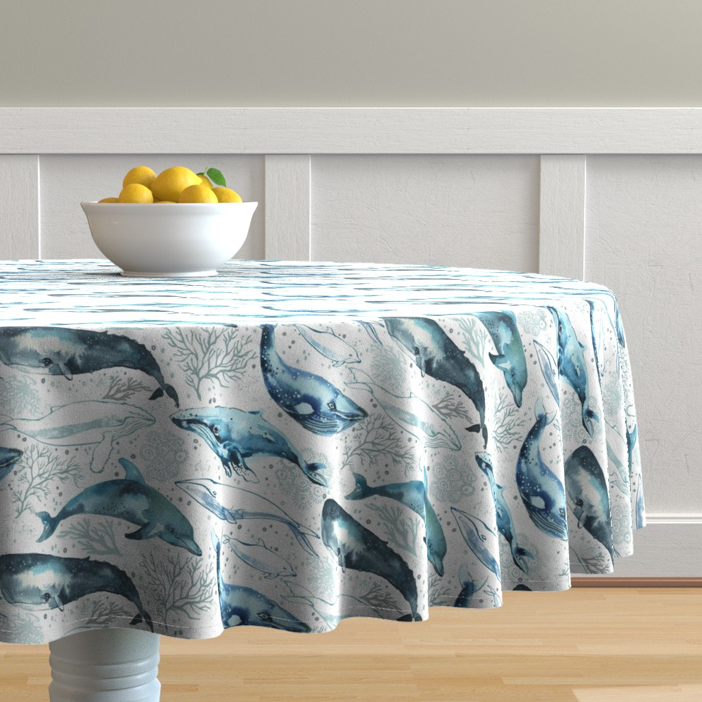 Malay Round Tablecloth featuring Whales & Dolphins by ohn_mar_win