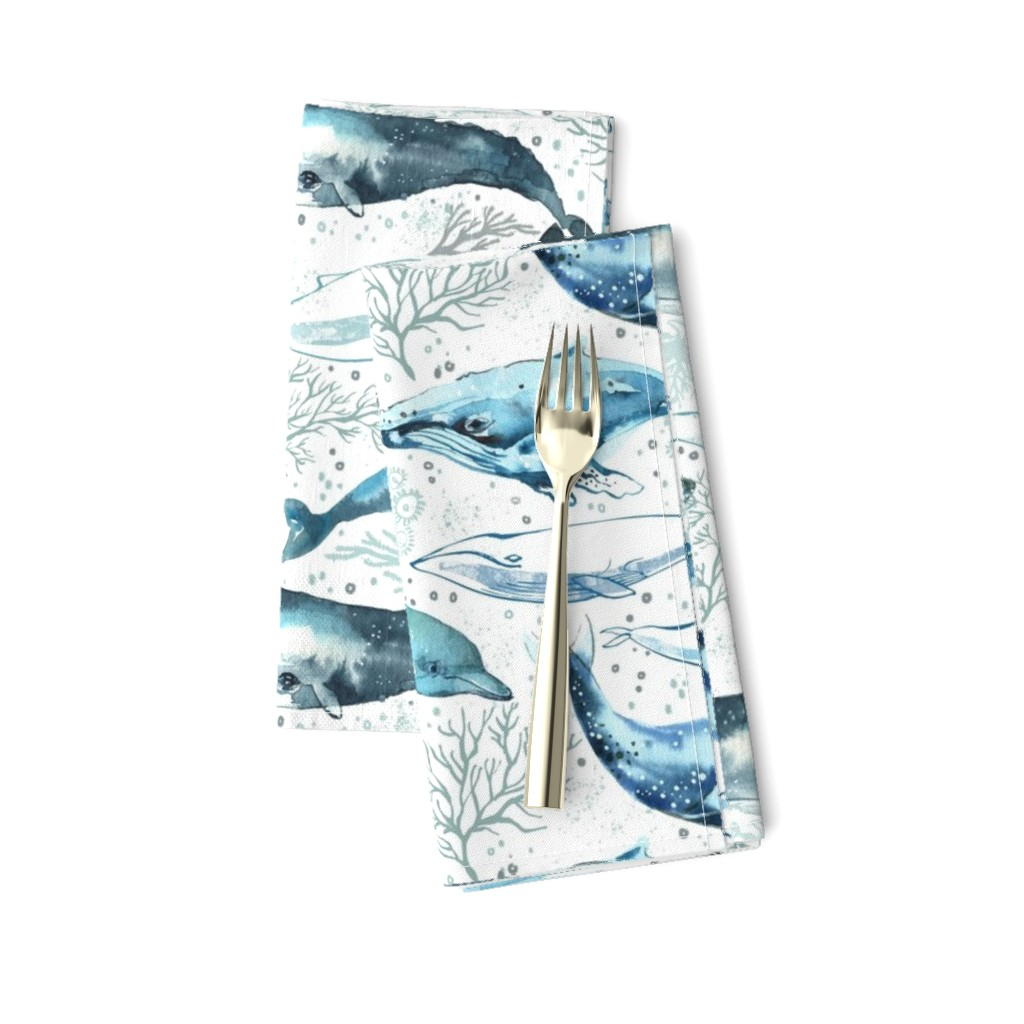 Amarela Dinner Napkins featuring Whales & Dolphins by ohn_mar_win