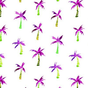 Purple palms, watercolor pattern
