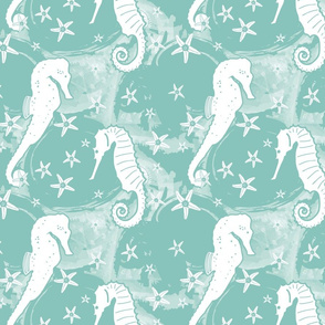 Seahorse and starfish on Green