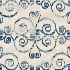 Modern Farmhouse Ikat ~ Cream Navy