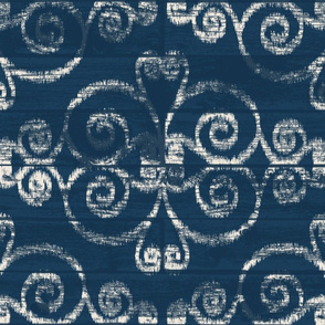 Modern Farmhouse Ikat ~ Navy Cream