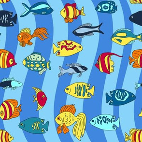 Small ocean fish in the waves pattern