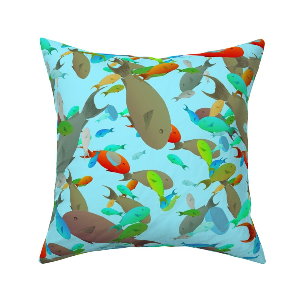 Catalan Throw Pillow featuring busy and chaotic fish by variable
