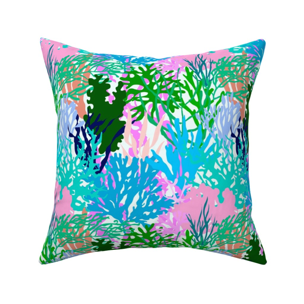 Catalan Throw Pillow featuring Coral Collection in Light Multi + White by elliottdesignfactory