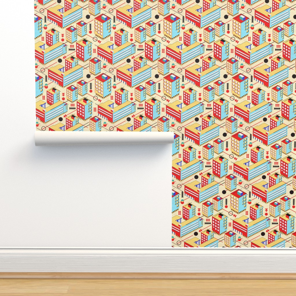 Isobar Durable Wallpaper featuring Bauhaus City by vinpauld