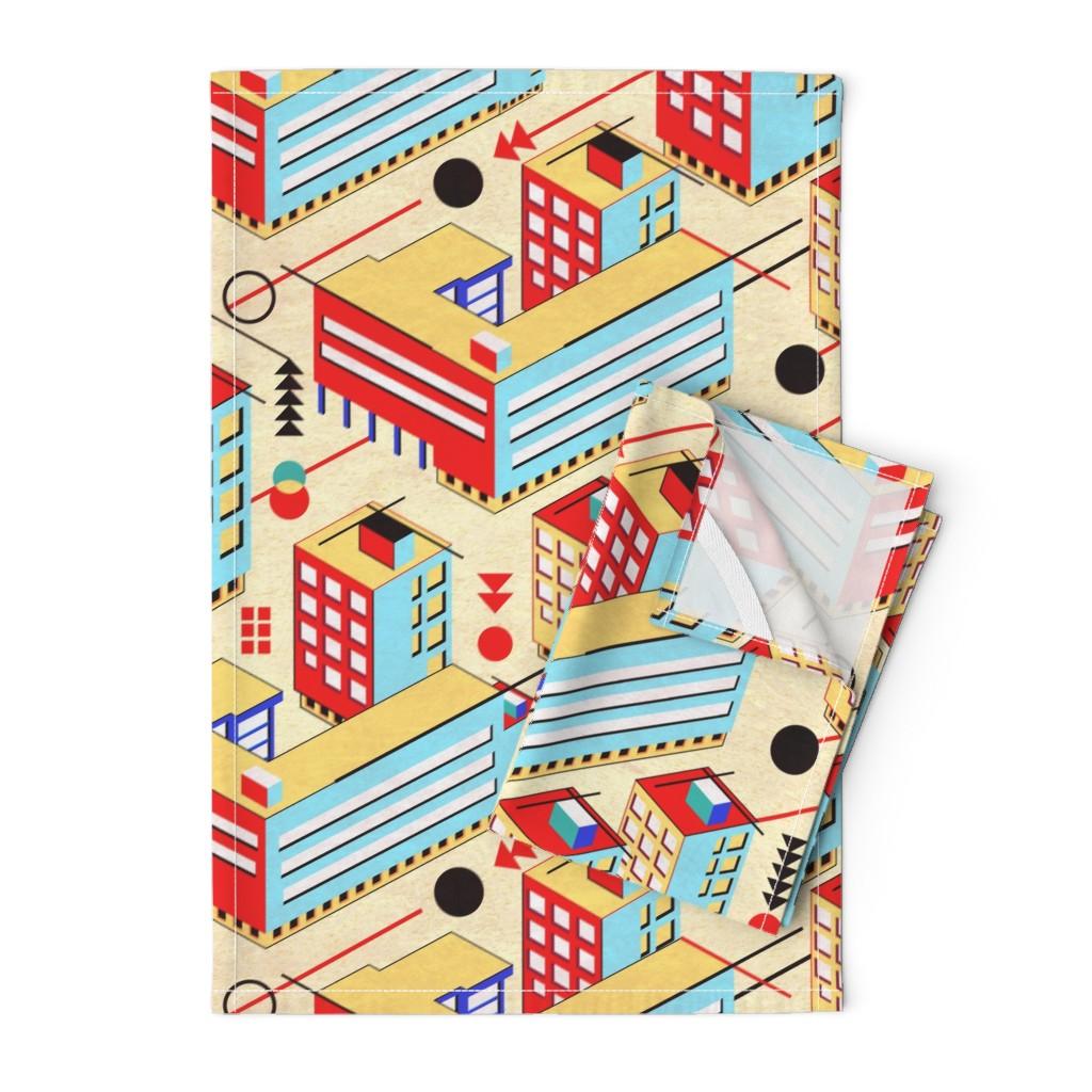 Orpington Tea Towels featuring Bauhaus City by vinpauld
