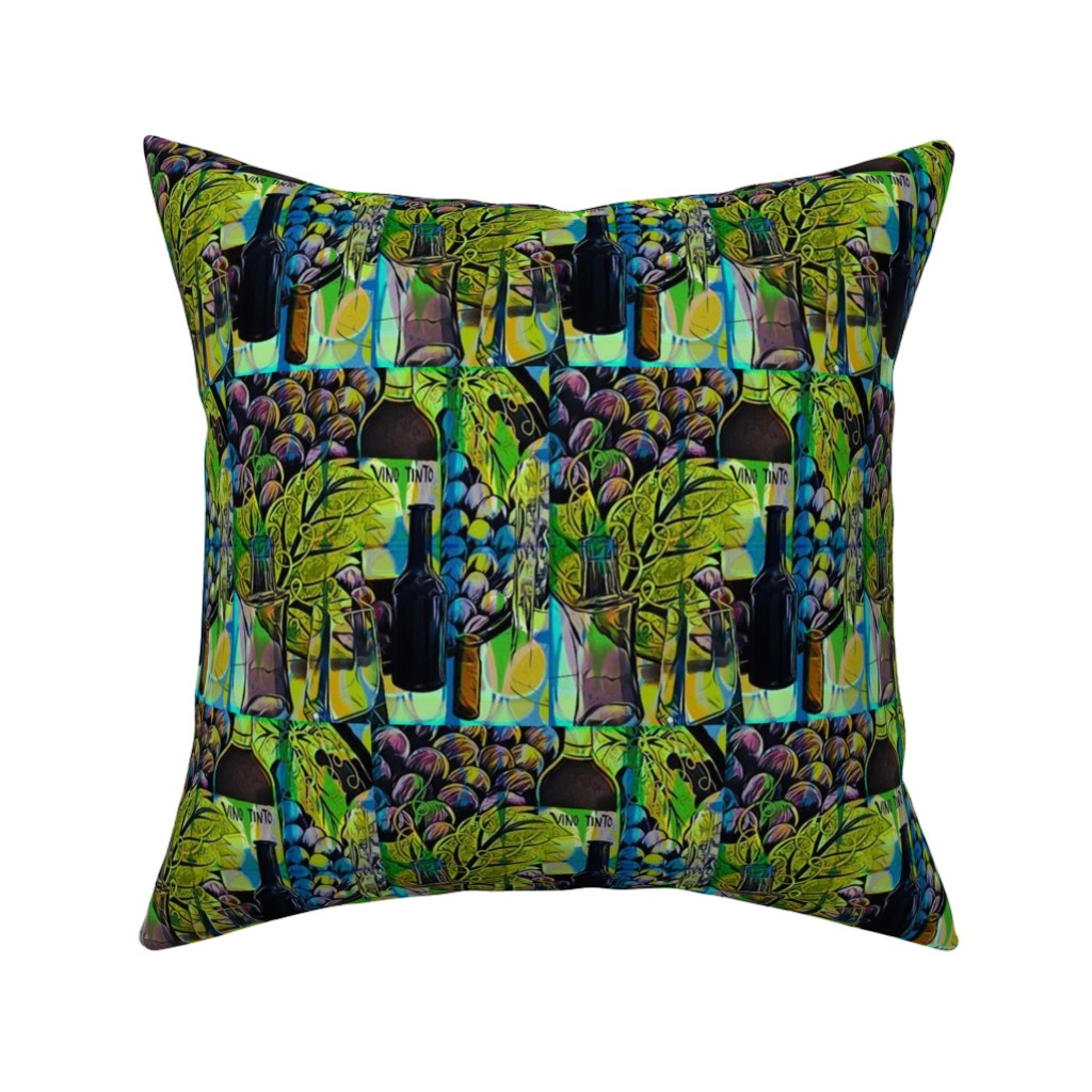 """Catalan Throw Pillow featuring """"Wine and Dine"""" by elizabethvitale"""