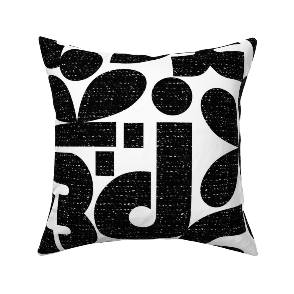 Catalan Throw Pillow featuring Talk of the Bauhaus-Jumbo large scale black and white by ottomanbrim