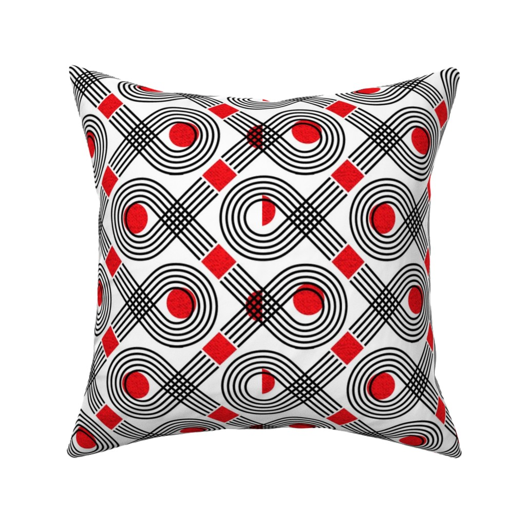 Catalan Throw Pillow featuring Bauhaus fish-black and white by ottomanbrim