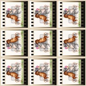 Dachshund Border Quilt Film tile fabric Doxie Sausage Dog Izmaylova Ice cram Cat 6 in