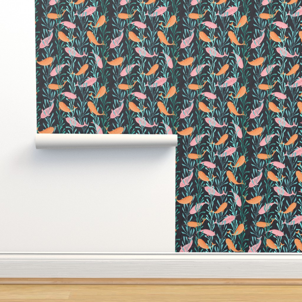 Isobar Durable Wallpaper featuring Narwhals playing in the kelp forest by lahna_winter