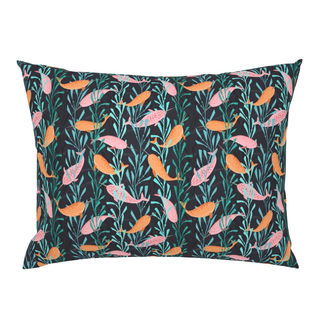 Campine Pillow Sham featuring Narwhals playing in the kelp forest by lahna_winter