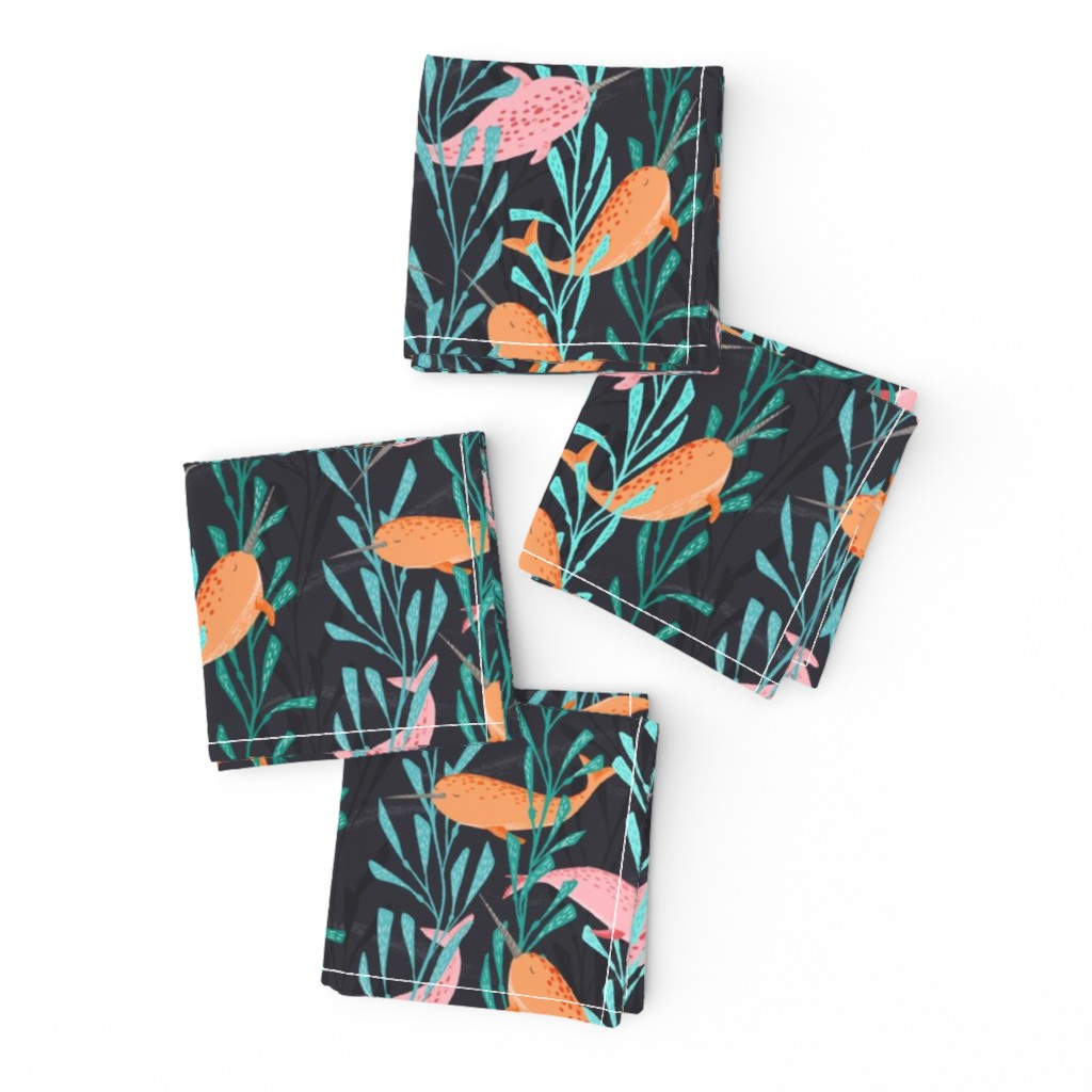 Frizzle Cocktail Napkins featuring Narwhals playing in the kelp forest by lahna_winter