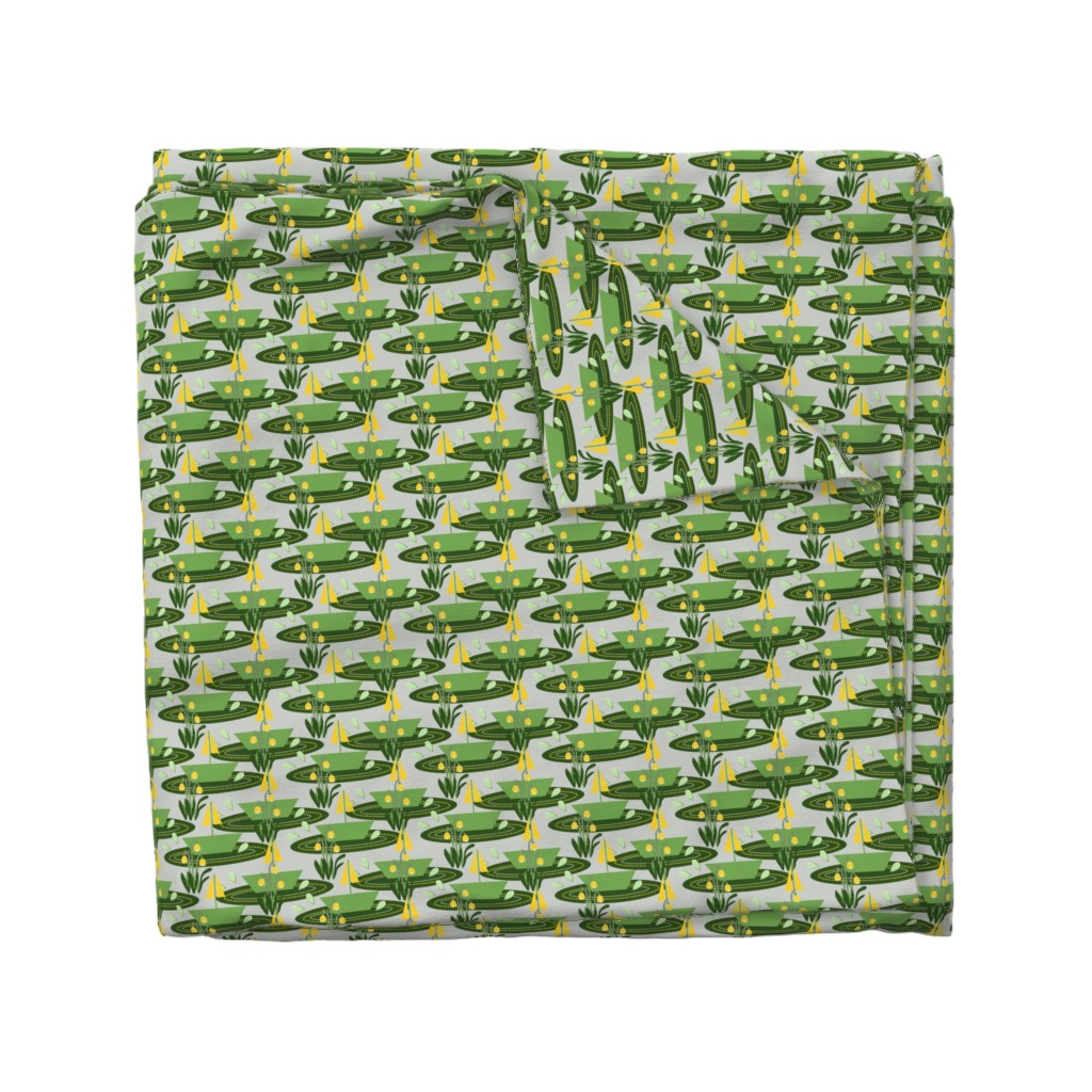 Wyandotte Duvet Cover featuring Sailing in the rain green by anino