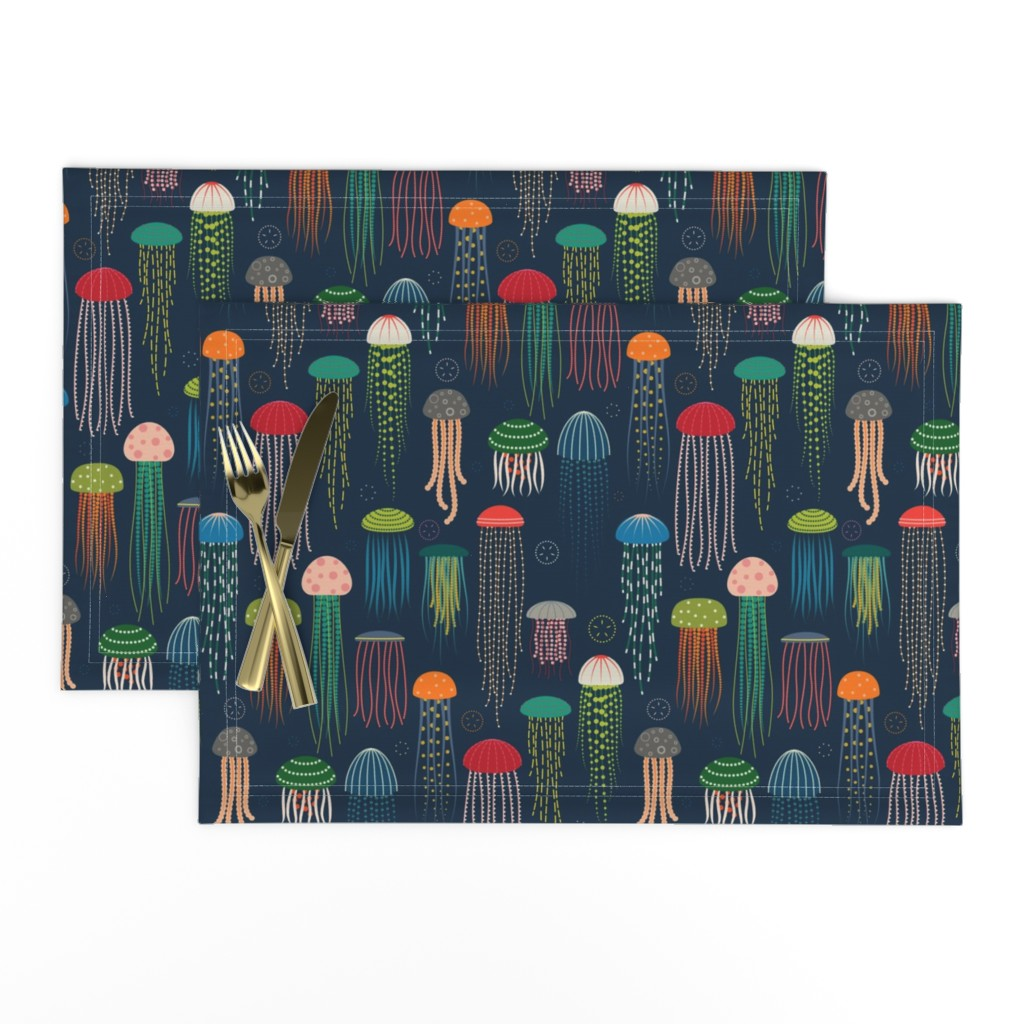 Set of 4 Cloth Placemats by Roostery with Spoonflower Cloth Placemats Haeckel Trachomedusae Jellyfish by Peacoquettedesigns