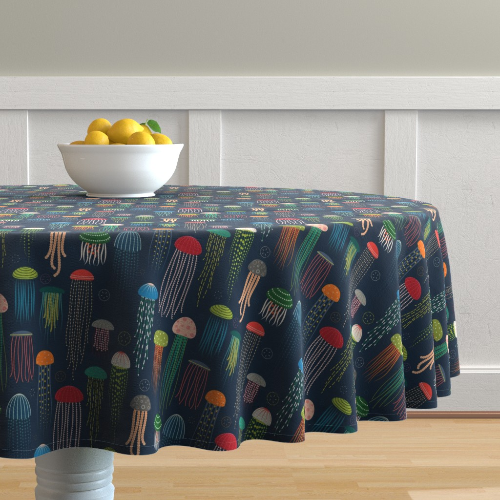 Malay Round Tablecloth featuring Just Jellies - Jellyfish by katerhees
