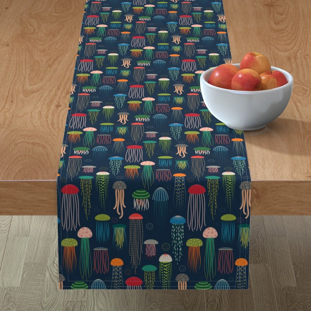 Minorca Table Runner featuring Just Jellies - Jellyfish by katerhees