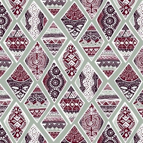 Sage  Winter Diamonds in Garnet Red, Rasin Purple and Green Balsam  - Small